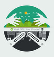 eco friendly hands hug concept vector image vector image