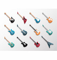 electronic and acoustic guitars icon set vector image vector image