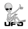 extraterrestrial alien sits and shows like vector image vector image