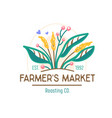 farmer market banner with green plant ecological vector image vector image