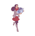 flat woman with present gift boxes vector image vector image