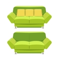 Green sofa couch design Front view vector image