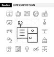 interior design hand drawn icons set for vector image vector image