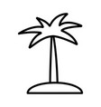 island with palm tree icon on white background vector image