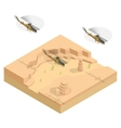 Isometric Military helicopter over the desert vector image vector image