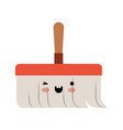 kawaii hand broom with wooden stick in colorful vector image vector image