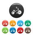 kid tricycle icons set color vector image vector image
