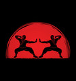 kung fu action ready to fight designed on sunlight vector image vector image