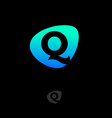 logo q monogram green blue shape web digital vector image vector image