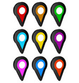 map marker map pin icon set in 9 colors vector image vector image