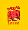 mega sale off banner set collection neon color vector image vector image