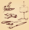 painter and painting set brushes vector image