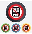 PDF file document icon No Download pdf button vector image vector image