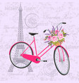 pink bicycle with a basket full flowers vector image vector image