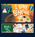 school chalkboard backpack book and pencil vector image