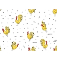 Seamless pattern with yellow rooster on a white vector image