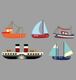 set cartoon ships a collection old vector image vector image