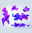 set of abstract 3d facet crystal shapes vector image