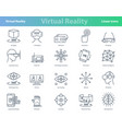 set of black outline virtual reality icons vector image