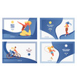 set of blue sport banners with girl doing vector image vector image