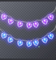 set of colorful garlands with shape of hearts vector image vector image