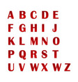 set of red alphabets with numerals 3d alphabet vector image