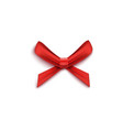 single gift bow from red satin ribbons 3d vector image