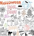 sketch halloween design elements with pumpkin vector image