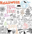 Sketch of halloween design elements with punpkin vector image