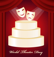 Theatrical mask gold podium World Theater Day vector image