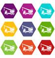 truck crane icon set color hexahedron vector image vector image