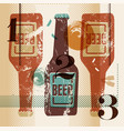 vintage grunge style poster with a beer bottles vector image