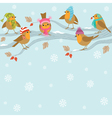 Winter background with funny birds vector image vector image