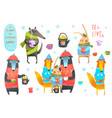 winter forest animals drinking tea clip art vector image