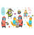 winter forest animals drinking tea clip art vector image vector image