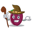 witch plum mascot cartoon style vector image vector image