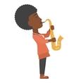 Woman playing saxophone vector image vector image