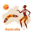 australia map with woman vector image
