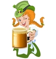 Red haired girl leprechaun holding a glass beer vector image