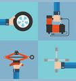 repair of automobile wheels flat design vector image