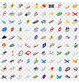 100 transport icons set isometric 3d style