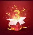 3 rd year number anniversary and open gift box vector image vector image
