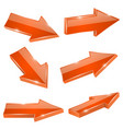 arrows orange straight shiny 3d icons vector image vector image
