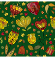Autumn doodles seamless pattern