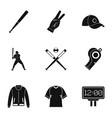 baseball championship icons set simple style vector image vector image