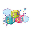 blocks numbers toys in the clouds vector image vector image