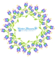 Blue flowers round frame isolated on white vector image