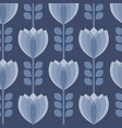 blue tulip flower seamless pattern vector image