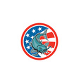 Catfish Swimming American Flag Circle Cartoon vector image vector image