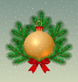 Christmas ball with fir tree branches vector image
